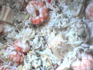 炊きあがった海鮮豆乳ごはん