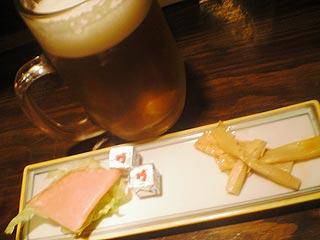 メンマとチーズとハムとレタス